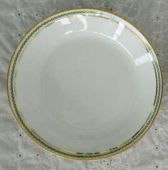Limoges France Marshall Fields Fine China Green Laurel Gold Soup Salad Bowls #Limoges