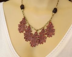 Fall Leaf Necklace w/ Garnet - Hand Painted Jewel Tone Leaves and Garnet Gemstone Beads Nature Necklace - Oak Tree Leaves - Forest Woodland