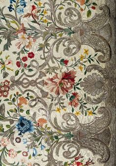 Court Dress-Mantua-fabric_1740-1745_England (probably)_Silk, embroidered with colored silk and silver thread_Berg Fashion Library