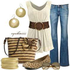 switch up the shoes with some brown wedge heels and the purse with a solid brown leather and yup.