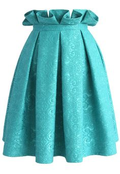 Baroque Perfection Embossed Skirt in Turquoise - New Arrivals - Retro, Indie and Unique Fashion