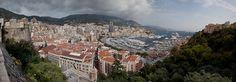 Taken a top Princess Grace Kelley's castle wall, overlooking downtown Monaco. Castle Wall, Monaco, Paris Skyline, Grand Canyon, France, Spaces, Nature, Travel, Naturaleza