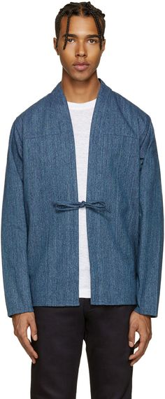 Long sleeve woven Japanese cotton kimono-style shirt in indigo. Y-neck collar. Open front with integrated self-tie fastening. Tonal stitching.