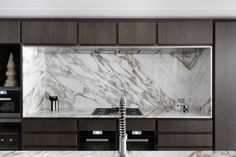 Redcliffe Road by MWAI Architecture & Interiors #whitegraymarble #kitchenmarble #kitchendesign