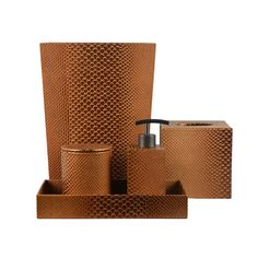 Golden Brown Leather Bathroom Accessories From Imperial Bath   Made For You