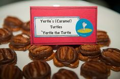 yertles turtles (yertle the turtle): chocolate pretzel turtles  these were ALL over the web a few months ago..   and they are super simple.   pretzels, rolos & pecans  line a baking sheet with foil & place pretzels out  put rolos on top.   heat in 250 oven about 2-4 minutes, until the candy gets shiny  DO NOT OVER BAKE.   (experience speaking here people!)  pull out & immediately place pecan on top & push down.