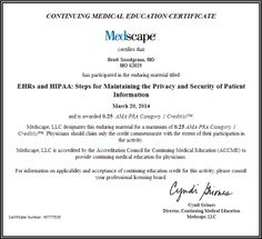 EHRs and HIPAA: Steps for Maintaining the Privacy and Security of Patient Information. 0.25 AMA PRA Category 1 Credits.
