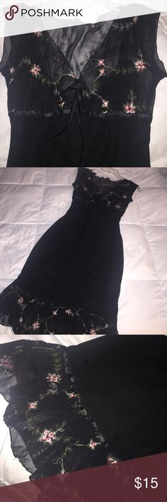 Black fitted dress Black sheet dress with pink flowers embroidery on top and bottom. Size 5 perfect for dancing or date night Dresses