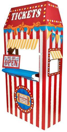 """This Ticket Booth Cardboard Stand will be a fun accent to your carnival themed party! The cardboard stand measures 66.75""""""""H x 30.75""""""""W x 13.5""""""""D. Some assembly required. Standard ground shipping only."""