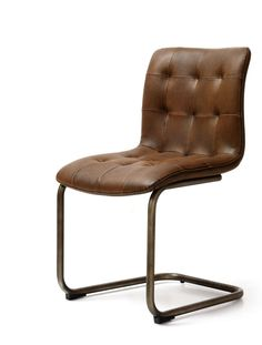 Industrial Style Pair Of Dark Brown Faux Leather Button Back Dining Chairs With Steel Frames
