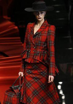 Vintage red tartan blazer, skirt