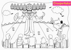 I designed this colouring page for my son. Its about a religious festival celebrated all over India called Dussehra. Its a celebratio. Drawing Sheets For Kids, Scenery Drawing For Kids, Easy Drawings For Kids, Composition Drawing, Picture Composition, Colouring Pages, Coloring Pages For Kids, Drawing Sketches