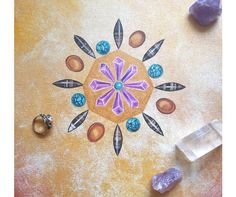 """Mandala art for personal healing - crystals painting for Boho girls - acrylic on canvas 12x12"""" via Claudia Nanni Fine Art. Click on the image to see more! #mandala #art #healingart #meditation #crystals"""