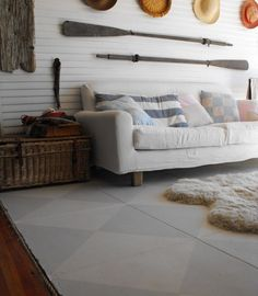 Painted Concrete Floors Design, Pictures, Remodel, Decor and Ideas Eclectic Living Room, Coastal Living Rooms, Living Room Designs, Floor Design, House Design, Painted Concrete Floors, Wood Walls, Floor Patterns, Beautiful Homes