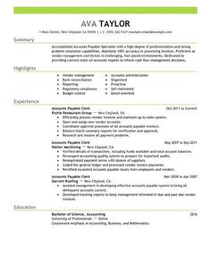resume examples accounts payable