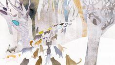 ilustración de Shin Hyuna / cats in the wood