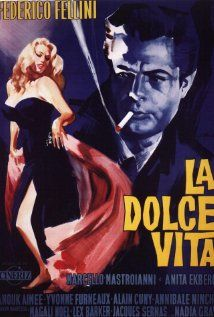 "La Dolce Vita - ""Film poster for La Dolce Vita, Starring Marcello Mastroianni and Anita Ekberg, directed by Federico Fellini. La Dolce Vita won the Palme d'Or at the 1960 Cannes Film Festival and the Oscar for Best Costumes. Iconic Movie Posters, Cinema Posters, Iconic Movies, Old Movies, Greatest Movies, Art Posters, Vintage Cartoons, Vintage Films, Posters Vintage"