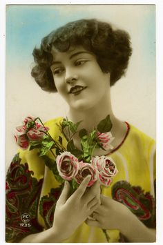 1920s French Art Deco Pretty Smiling Flapper Beauty Tinted Photo Postcard   eBay