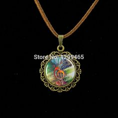 Retro ethnic style Music Staff pendant Wholesale Charms High notes style Leather Necklace Morocco fashion jewelry  L 520