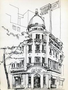 Urban Sketchers Vietnam Grand Hotel - Since 1930, phía sau là Grand Hotel của SG những năm 2011