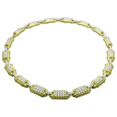 Judith Ripka Diamond Gold Necklace | From a unique collection of vintage link necklaces at https://www.1stdibs.com/jewelry/necklaces/link-necklaces/
