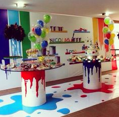 Colorful Art Themed Party, Pop Art Party, Paint Party, Artist Birthday, Kids Party Themes, Party Ideas, 10th Birthday Parties, Barbie Party, Birthday Decorations