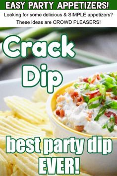 Crack Dip - YUM! Looking for some delicious & SIMPLE appetizers? These ideas are CROWD PLEASERS!  - Easy Party Appetizers!