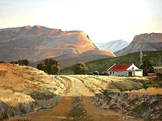 Karoo sunlight - by Rika De Klerk. The Karoo is a semi-desert in South Africa. Landscape Art, Landscape Paintings, Landscape Photography, South African Artists, Out Of Africa, Beautiful Paintings, Beautiful Places, Scenery, Colour Harmony
