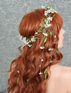 Handmade, whimsical white floral crown, wedding head piece, medieval circlet - Isolde. $100.00, via Etsy.