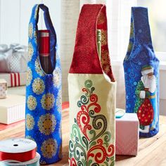 Make a gift of wine or other food item more memorable by creating pretty fabric packaging.