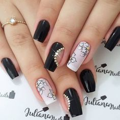 58 Cute And Elegant Acrylic Black Nails Design Ideas For Short Nails - Long Gel Nails, Short Nails, Black Nail Polish, Black Nails, Black Toe, Black Nail Designs, Nail Art Designs, Nails Design, Matte Nails
