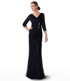 Adrianna Papell Sheer-Sleeve Embellished Gown | Dillards.com