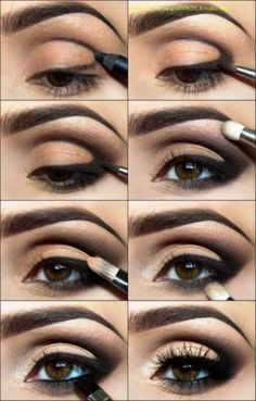 1: outline(eyeliner) 2:blend out 3:add light color under eyebrows 4: blend under and at top of eye 5:goldy-peach color on eyelid 6: layer of goldy-peach color underneath lower lashes 7: layer of dark color(black or dark brown) underneath lower lashes 8: multiple layers of mascara (or fake eye lashes.