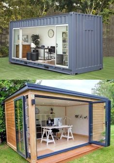 Man Cave Shipping Container - - Here is another shipping container from Universal Container Homes that has been converted into a man cave. You can put it in your backyard and use it as. Outdoor Office, Backyard Office, Backyard Studio, Backyard Sheds, Garden Office, Building A Container Home, Container Buildings, Container House Plans, Container Home Designs