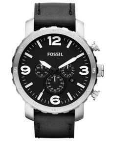 separation shoes b5043 aeabd Fossil Men s Chronograph Nate Black Leather Strap Watch 50mm Trommer,  Shopping, Tøj, Herreure