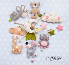 """Mobile – Mobile """"Dreams"""" – a unique product by Stoffdekor on DaWanda - Cute Gifts, Baby Gifts, Baby Mädchen Mobile, Home Crafts, Diy And Crafts, Cross Stitch Animals, Felt Fabric, Felt Toys, Baby Party"""