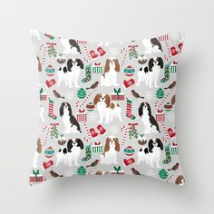 Cavalier King Charles Spaniel Christmas Pattern Gift For Dog Lover Pet Friendly Pet Portrait Couch Throw Pillow by Petfriendly - Cover x with pillow insert - Indoor Pillow Dog Lover Gifts, Dog Gifts, Dog Lovers, King Charles Spaniel, Cavalier King Charles, Throw Cushions, Designer Throw Pillows, Pet Parade, Fluffy Pillows