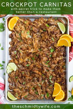This delicious Crockpot Carnitas Recipe comes together fast using pork butt, spices, onion, orange, & beer. It's better than what you get at a restaurant! Crockpot Carnitas Recipes, Pork Carnitas Recipe, Crockpot Dishes, Pork Dishes, Pork Recipes, Slow Cooker Recipes, Mexican Food Recipes, Dinner Recipes, Cooking Recipes