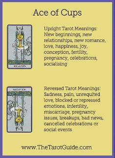 Tarot Flashcards - Ace of Cups Tarot Upright and Reversed Keyword Meanings www.thetarotguide.com