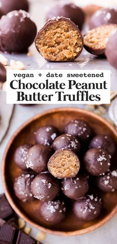 The best vegan chocolate peanut butter truffles. They're gluten-free, vegan, and sweetened with dates. You can easily make them paleo by using a different nut butter! These truffles are sure to satisfy your chocolate peanut butter candy cravings. #vegan #paleo Peanut Butter Dessert Recipes, Peanut Butter Truffles, Vegan Dessert Recipes, Chocolate Peanut Butter, Chocolate Desserts, Baking Recipes, Kinds Of Desserts, Light Desserts, Fun Desserts