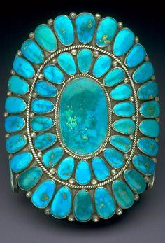Cuff | Warren and Doris Ondelacy. (Zuni) Sterling silver, turquoise. Ca. 1950 - 1975