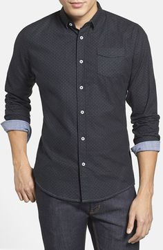 0709c5ac3bb92a Descendant of Thieves Trim Fit Dot Print Woven Shirt available at   Nordstrom Swag Fashion