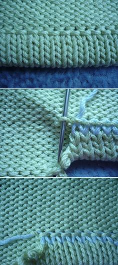 Live stitches from the last row of a sleeve for a folded / turned hem on the WS: sewing tidily & nicely. => grafting to row ~~ Use for collar / neckHem knitting (not in English, but photos helpful)Posts on the topic of tecniques added by Teixir Mitja Knitting Help, Knitting Stiches, Loom Knitting, Crochet Stitches, Hand Knitting, Knitting Patterns, Crochet Patterns, Knitting Basics, Knit Or Crochet