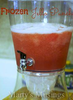 Frozen Jello Punch ~ 3 small pkg. Jello (any flavor), 9 cups boiling Water, 4 cups Sugar, 4 cups Water, 16 oz. bottle Lemon Juice, 2 - 46 oz. bottles Pineapple Juice, 2 large bottles Ginger Ale