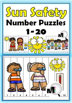 Sun Safety Activities - Number Puzzles For Kids in preschool and kindergarten are a fun way to practice number order from Sun Safety Activities, Safety Games, Safety Week, Summer Activities, Preschool Activities, Math For Kids, Puzzles For Kids, Teaching Resources, Teaching Ideas