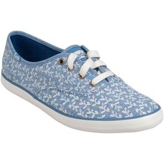 Keds Women's Champion Botanical Leaves Sneaker ($50) ❤ liked on Polyvore featuring shoes, sneakers, chambray, lightweight shoes, flower print shoes, keds sneakers, tenny shoes and keds shoes