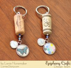 Wine cork keychains made with the #epiphanycrafts Shape Studio Tool Round 25 available at all #MichaelsStores.