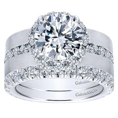 acd45ff8653a 18k White Gold Round Halo Engagement Ring angle 4 Engagement Rings Wide  Band