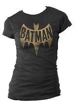DC Comics Batman Vintage Logo Licensed NWT Women's Juniors T-Shirt - Grey