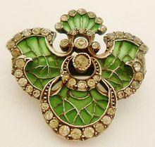 French Antique Art Nouveau Plique a jour enamel & paste 800-900 silver iris brooch/pendant